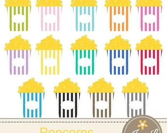 50% OFF Movie Popcorn Clipart for Planners, Digital Scrapbooking, Invitations, cupcake toppers, Stickers, Labels