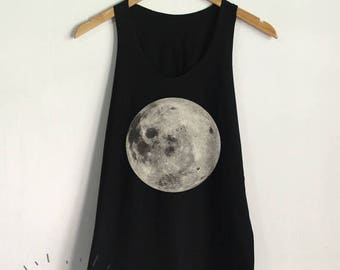 Moon Tank Top Full Moon Shirt Women Tank Clothing Tumblr