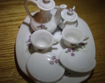 9 pc Miniature Tea Set glass vintage purple flowers, girls present, room, stocking stuffer, birthday,