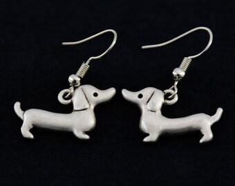 Dachshund Earrings, Dachshund Charm Earrings, Dachshund Jewelry, Doxie Earrings, Doxie Gift, Gift for Dachshund Lover, Gift for Doxie Owener