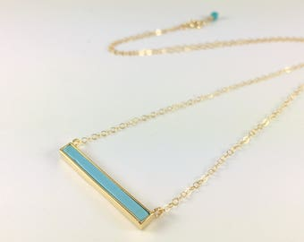 Turquoise Pendant Necklace Gold Bar Necklace Gold Layering Necklace Horizontal Bar Stick Necklace Delicate Gemstone Necklace Turquoise Jewel