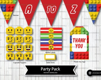 Printable Party Pack, Building Bricks, Lego Bricks, Thank you, Favor Bags, Lego Theme, Birthday, Decorations, DIY, INSTANT DOWNLOAD