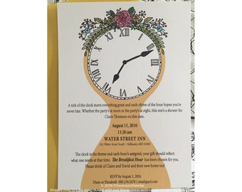 Hour of the Clock Bridal Shower Invitation