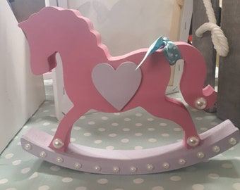 Wooden rocking horse ornament for baby nursery bedroom available in other colours and personalised