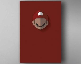 Mario Inspired. Minimalistic. Mario. Video Game Poster. Wall Art.