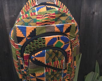 Bright Kente cloth backpack