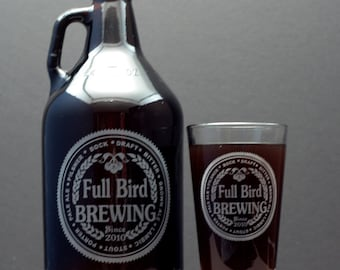 HomeBrew Growler and 1 Glass with  Brewing with Beer names Label Design. fathers day gift,custom pint,engraved pint, custom Beer Glass