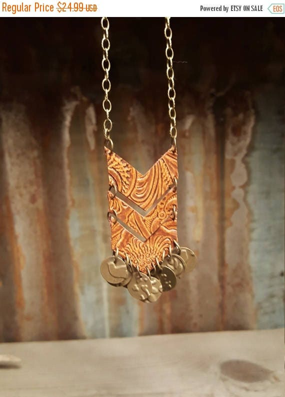 Leather Chevron Necklace, Leather Necklace
