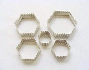 Assorted Fluted Hexagon Cookie Cutter 5 Piece Set