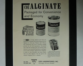 1960s Vintage Coe Alginate Advert, Dentist Surgery Decor, Available Framed, Teeth Art, Dentistry Gift for Him, Retro Medical Wall Art, Tooth