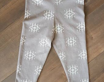 Handmade baby leggings - grey and white stretch jersey - gender neutral - child/baby apparel