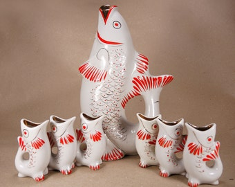 White Porcelain Drinking Set - Fish Family - Decanter and 6 shot glasses