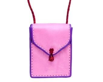 Square Leather Handbag | Girls Pink Handbag | Handmade Leather Bag | Pink Leather Pouch | Crossbody Handbag | Shoulder Bag