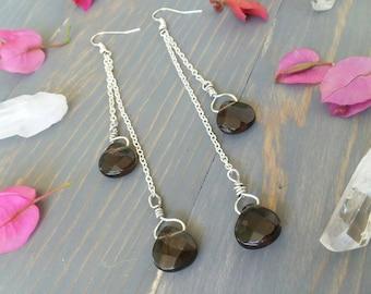 Faceted Smoky Quartz Dangle Tear Drop Earrings • Healing Crystals • Gemstone Jewelry • Nickel Free