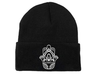 Hamsa Beanie | Embroidered Hat Boho Bohemian All Seeing Eye Festival Hipster Grunge Tumblr