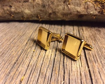 French Cufflink Blanks, gold, one pair, Bezel/ Tray set, square 14/16mm