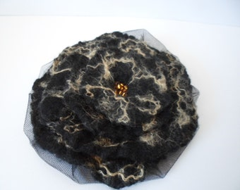 Black  Felt Flower Fascinator Hat or Brooch with Gold Trim and Beaded Center