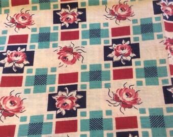 Vintage Feedsack Flour Sack Fabric Roses Red Pink Aqua 1930's 1940's Novelty Fat Quarter Quilt Craft