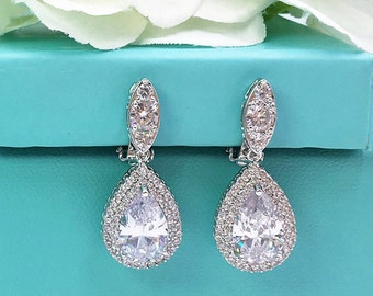 Clip on CZ earrings, pear cubic zirconia earrings, clip on wedding earrings, bridal jewelry, teardrop wedding earrings, Sasha Clip Earrings