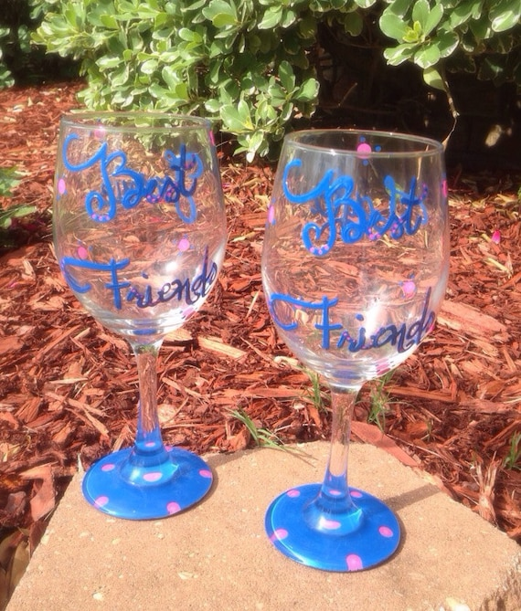 Best Friends  painted wineglass