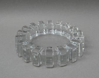 Mid Century Glass Gear Ashtray Clear Glass Sprocket Sunburst Catch All Dish Large Vintage Ashtray 7 Inch Diameter
