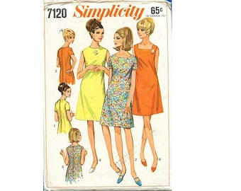 "Simplicity 7120 Vintage 60's Summer Dresses Sleeveless or Short Sleeve Square or Round Neck Dress Sewing Pattern Bust 38"" UK 16"