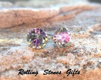 6.32mm Vitrail Light Swarovski Round Rhinestone Stud Earrings-Vitrail Light Crystal Studs-VL Color Changing Crystal Studs