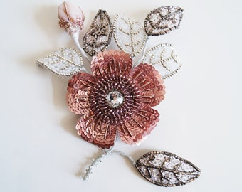 Flower brooch, brooch with pin, pink flower embroidery, flower jewelry, hand embroidery