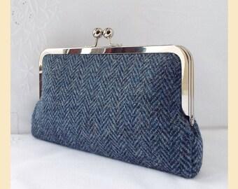Harris Tweed bag, black, grey, herringbone tweed, Harris Tweed clutch, tweed purse, cobalt blue silk, personalised handbag