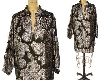 80s Metallic Mini Dress / Vintage 1980s Black & Silver Lurex Tunic / Sheer Floral Long Sleeve Boho Bohemian Rocker Blouse