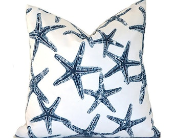 Pillow Covers ANY SIZE Decorative Pillow Starfish Navy Blue Pillow Sea Life Pillow Cover Premier Prints  Sea Friends Oxford