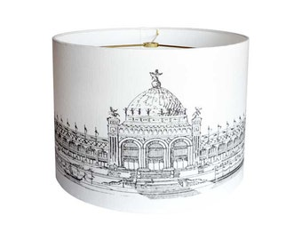 MEDIUM Linen Palais Beaux Arts Lamp Shade - Black and White Architecture Lampshade - 10 11 12 Inch Custom Made to Order