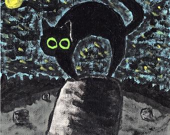 Black Cat 1 6 x 6 Acrylic Painting