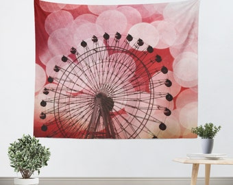Red Tapestry - Hipster Tapestry - Ferris Wheel - Photo Tapestry - Bokeh Photography - Carnival Photograph - Dorm Art - Red and Black Decor