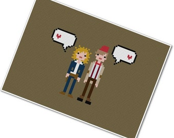 River Song & the Eleventh Doctor - The *Original* Pixel People in Love - PDF Cross-stitch Pattern INSTANT DOWNLOAD