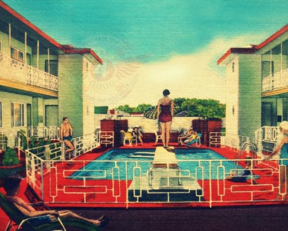 Retro Home Decor mid Century Motel print Vintage Summer art
