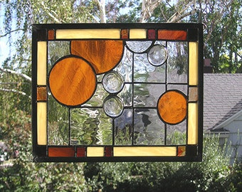 "Stained Glass Window Panel--Seven Circles Geometric -9"" x 11.5"""