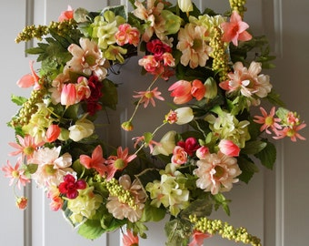 Summer Wreath Front Door Wreath Roses Tulips Wild Flowers Wreath