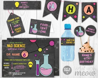 Girl's Science Party Package Invitations Pink Birthday Printable Photo Mad Laboratory Scientist DOWNLOAD Chemistry Editable Personalize