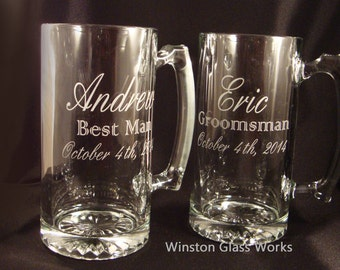 Etched Glass MEGA Beer Mugs for Your Wedding Party - Set of 8