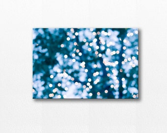 abstract photography canvas bokeh photography canvas art 12x18 24x36 fine art photography large canvas wrap fairy lights gallery wrap blue