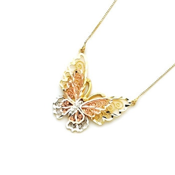 14kt Gold Tricolor Butterfly Necklace gold butterfly