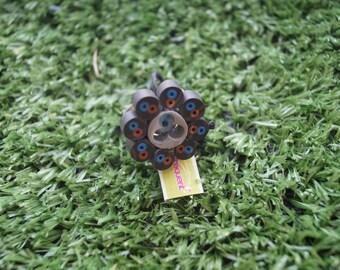 Electric black flower ring