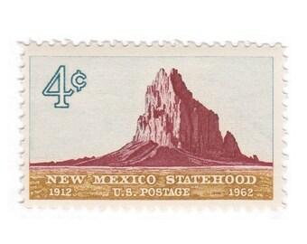 10 Unused Vintage US Postage Stamp - 1962 4c New Mexico -Shiprock - Item No. 1191