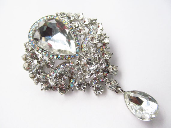 Crystal Hanging Rhinestone Brooch / Bridal Brooch / Crystal Brooch Component / Sqb 47 by Etsy