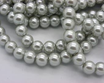 50 beautiful Silver 8 mm Pearl glass beads