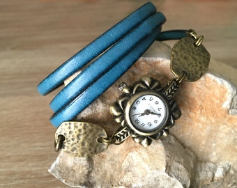 Women's leather watches blue antique medieval lagoon