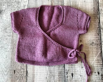 Baby ballet cardigan – handmade knitted cardigan - baby shower gift - girls clothes - kids clothes - christmas present - autumn winter cardy
