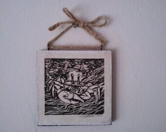Fiddler Crab Linoleum Block Print Hanging Plaque