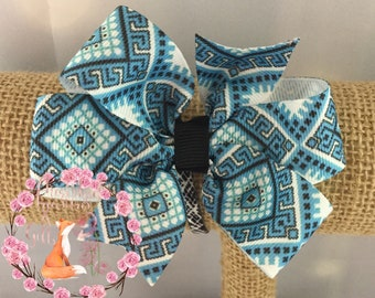 Blue White Black Aztec Hair Bow